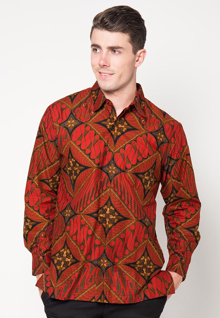 Kemeja Batik Panjang Merah Maroon by Danar Hadi OK2341  Klikplaza