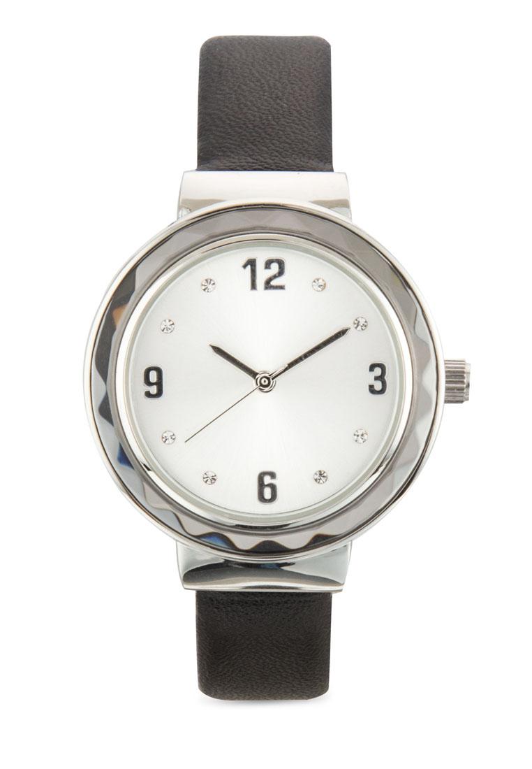 ZALORA Glass Bezel Round Face Watch