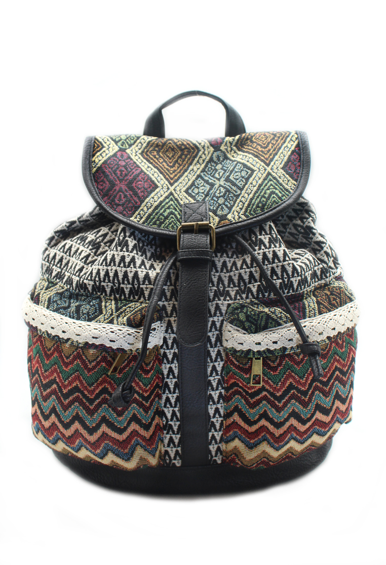 London Berry by HUER Carlyle Boho Pompom Backpack