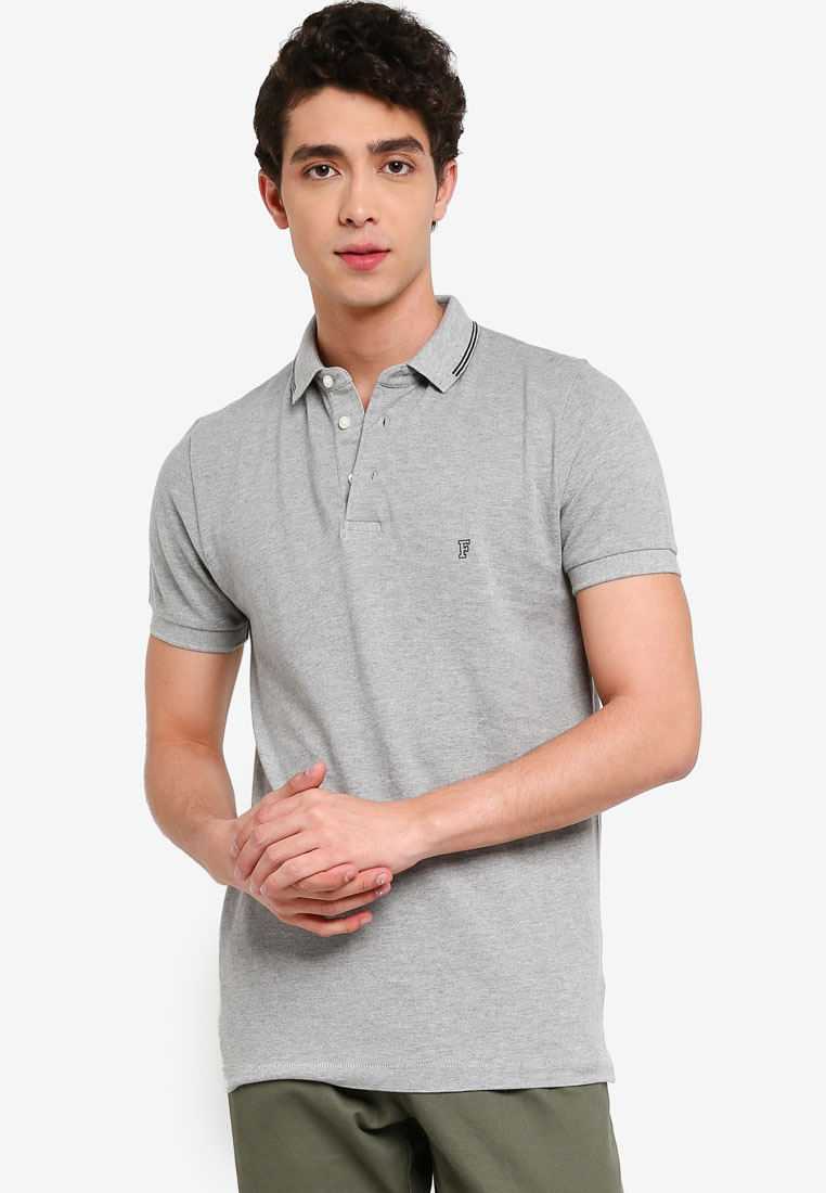 Summer Black Tipping Polo - Grey Mel/Marine - French Connection