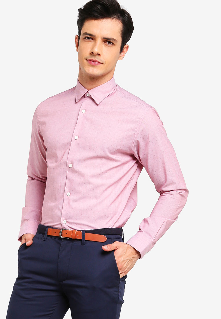 Long Sleeve Dobby Shirt - Barbados Cherry - Selected Homme