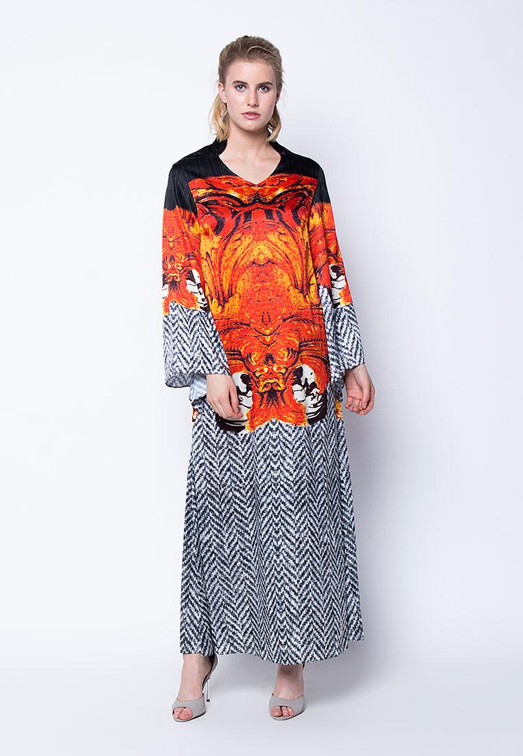 Flames in Motion - Digitally Printed Long Sleeve Silk Gown with Swarovski Crystal Embellishments - Black, Orange, Multi - Devain Kapoor
