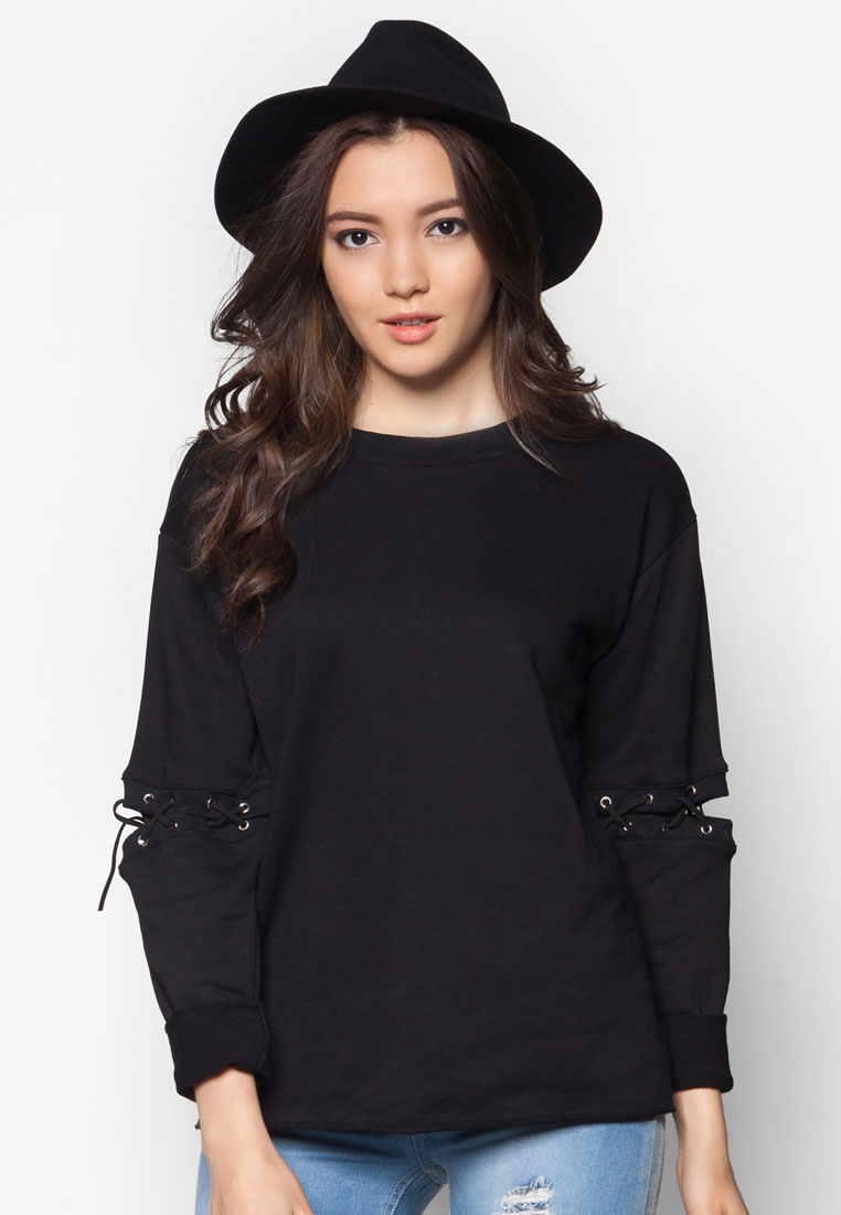 Something Borrowed Lace Up Oversized Sweater Top