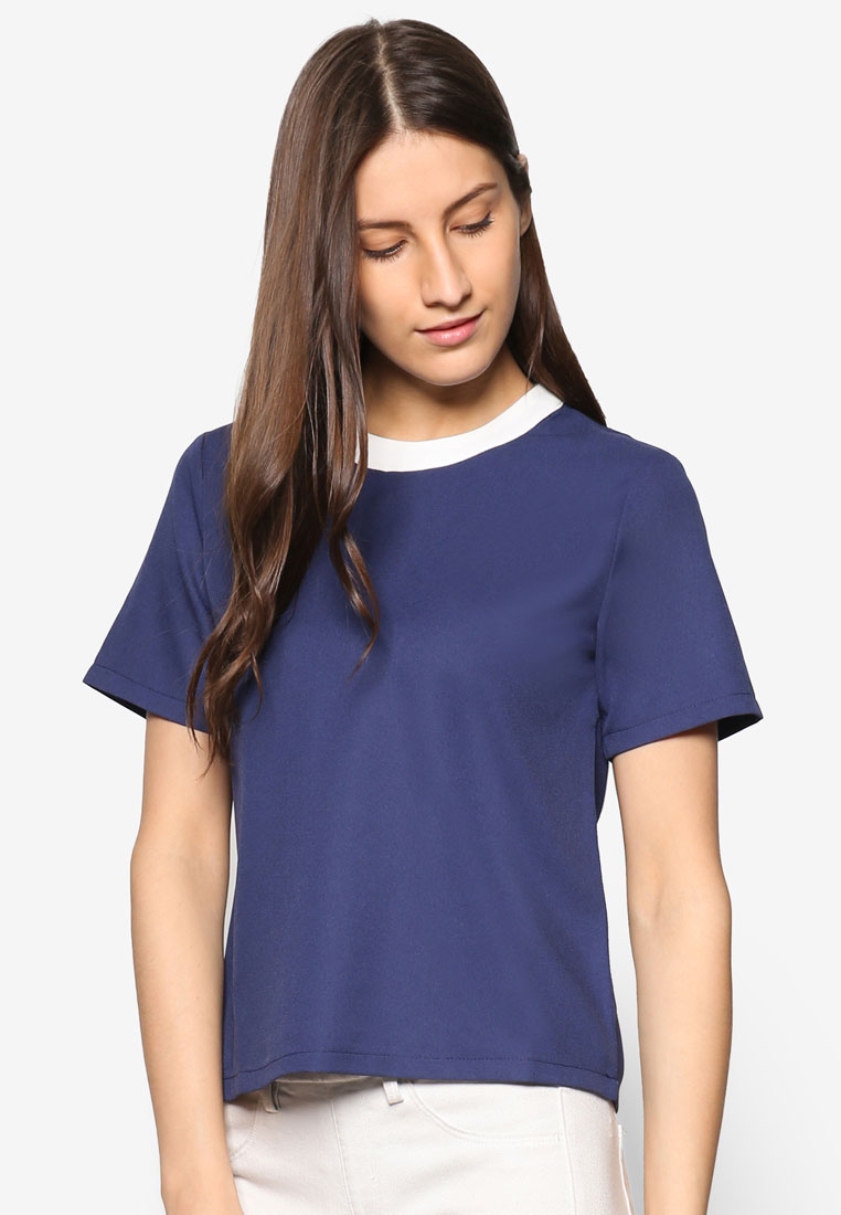 ZALORA Essential Contrast Binding Blouse