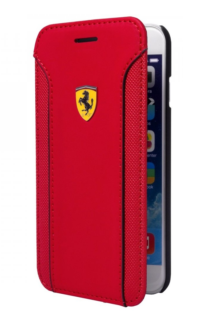 Ferrari Ferrari Booktype Case Racing Carbon PU Leather For Iphone 6 FEDA2IFLBKP6RE– Red