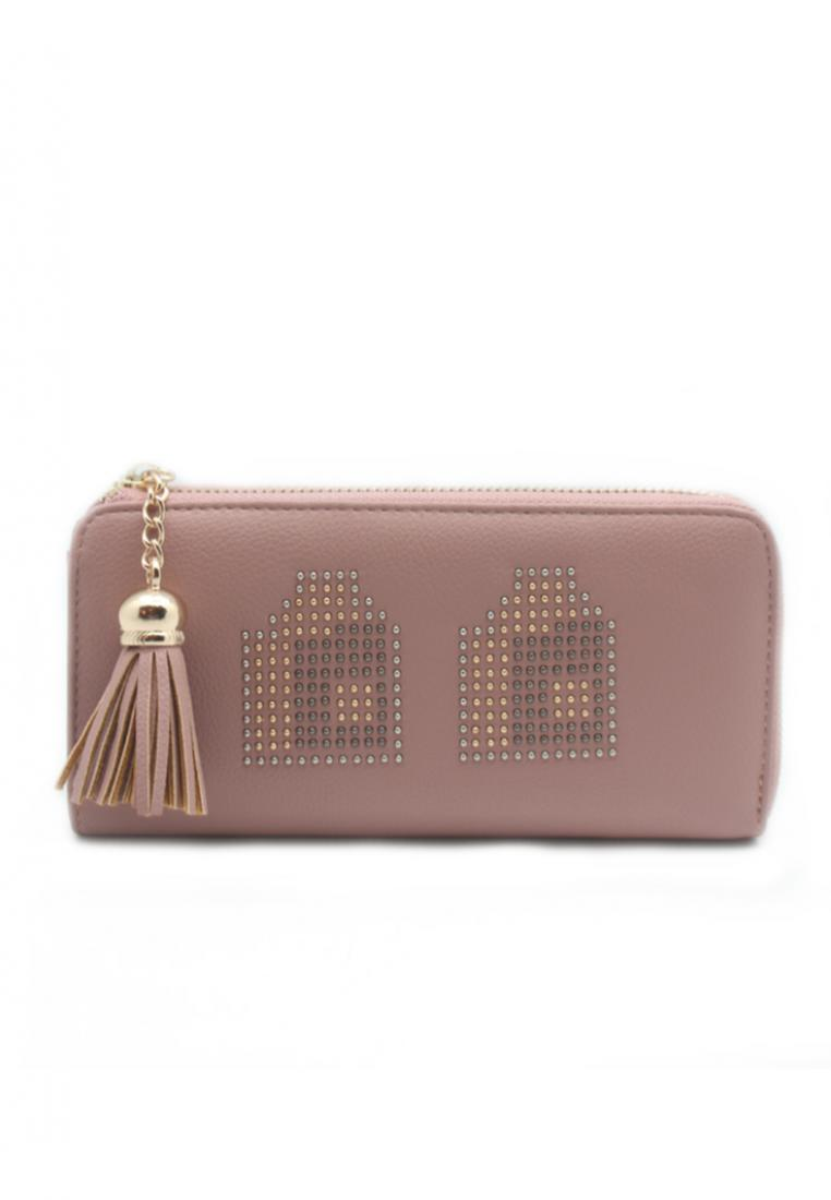 London Berry by HUER Mico Single Zipper Metal Embellish Wallet