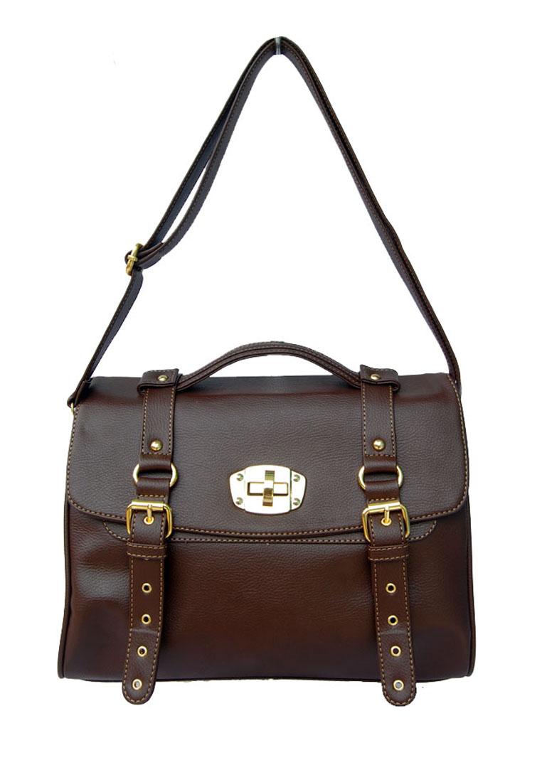 Baglis Lock Sling Bag - Brown