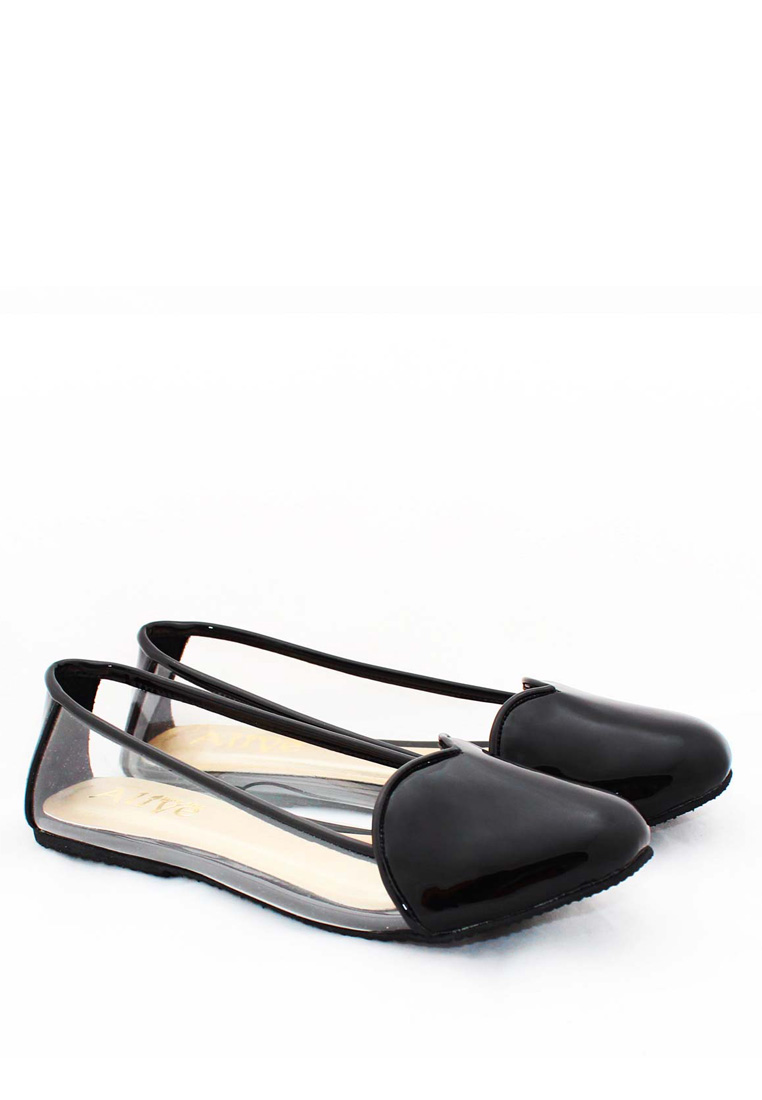 AliveLoveArts Alivelovearts Amore Black Flat Shoes