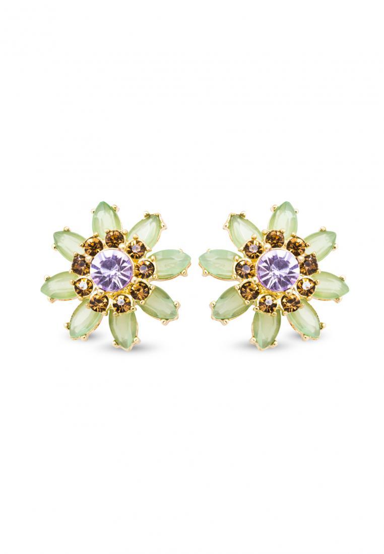 Toko Kurio Green flower hunter stud earrings
