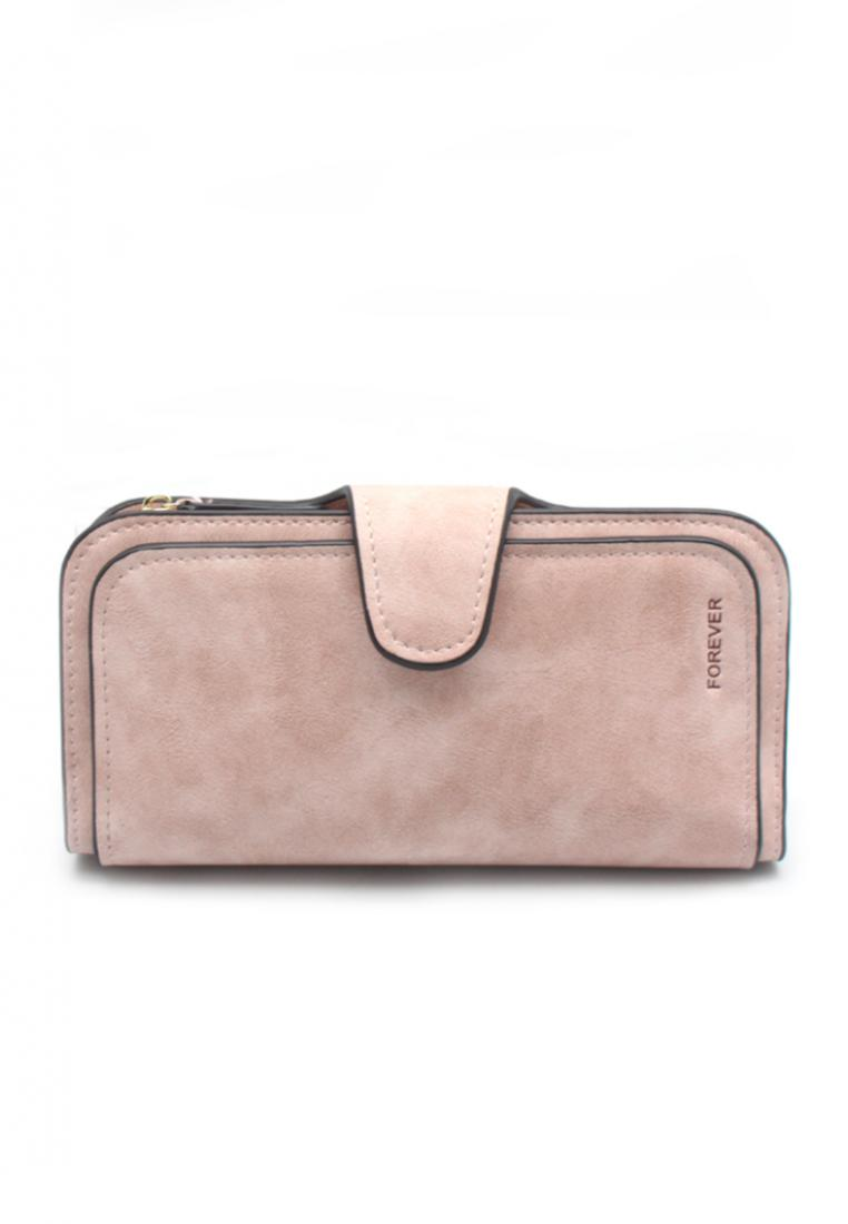 London Berry by HUER Forever 3 Layers Long Wallet