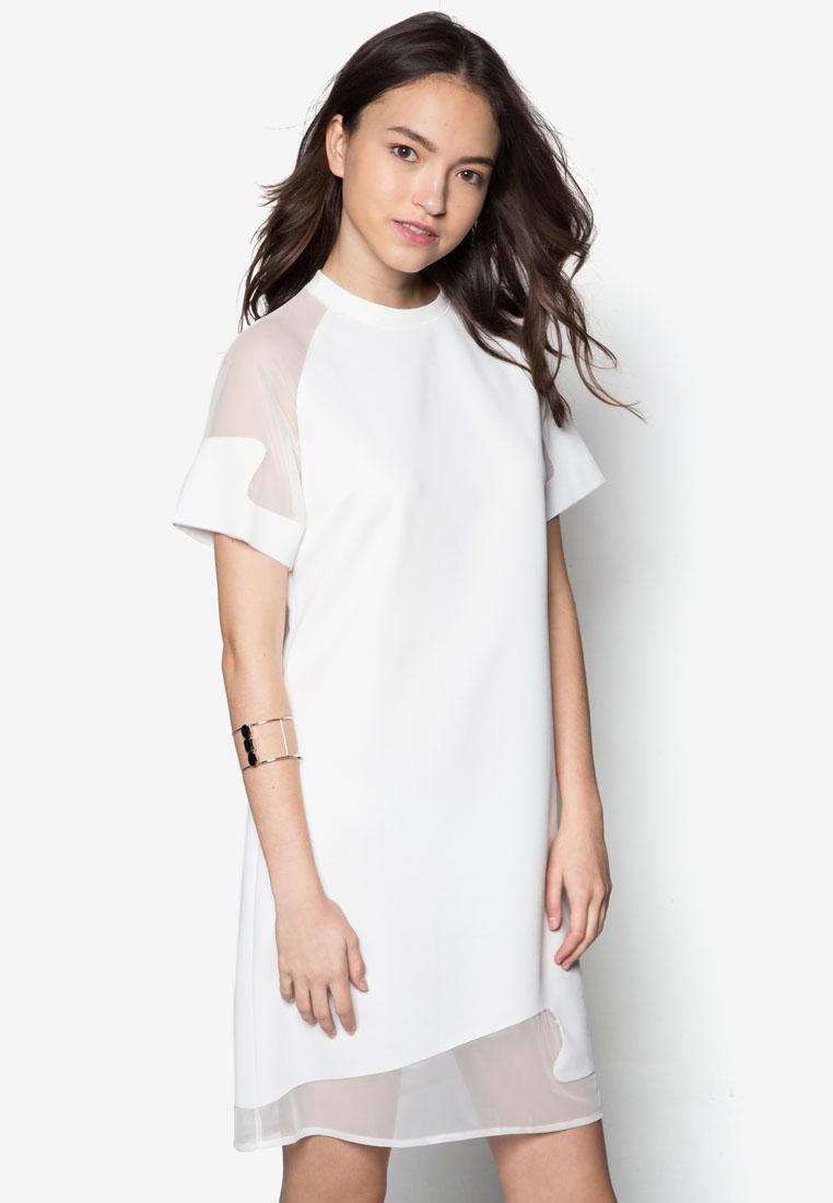 Something Borrowed Sheer Sleeve Laser Cut Detail Shift Dress