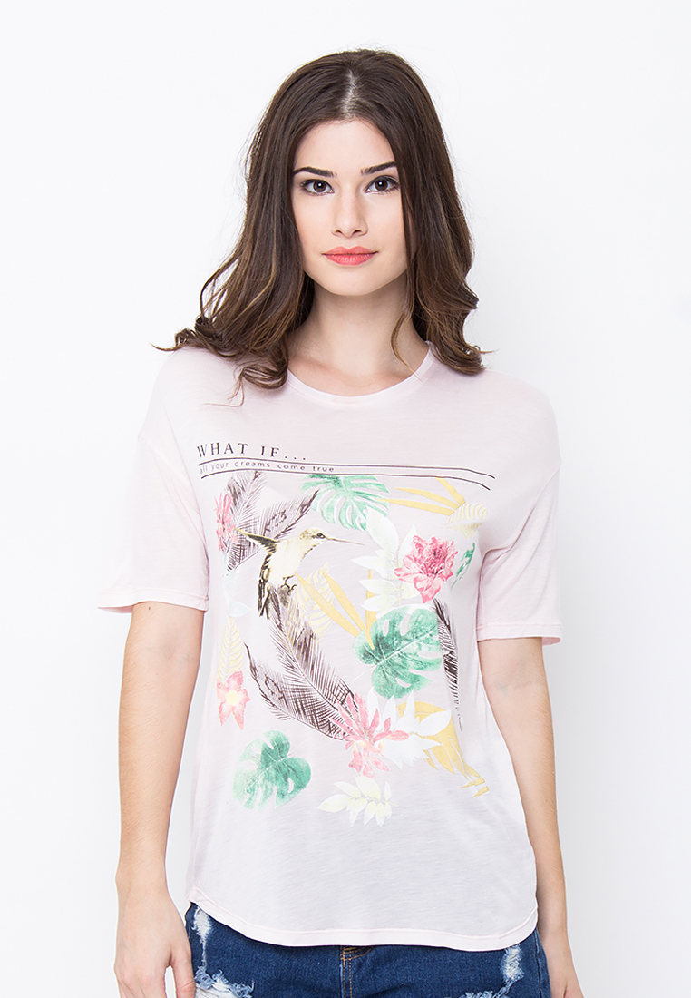 G by Gwen GbG WHAT IF Pink Fullcolor printed T-shirt