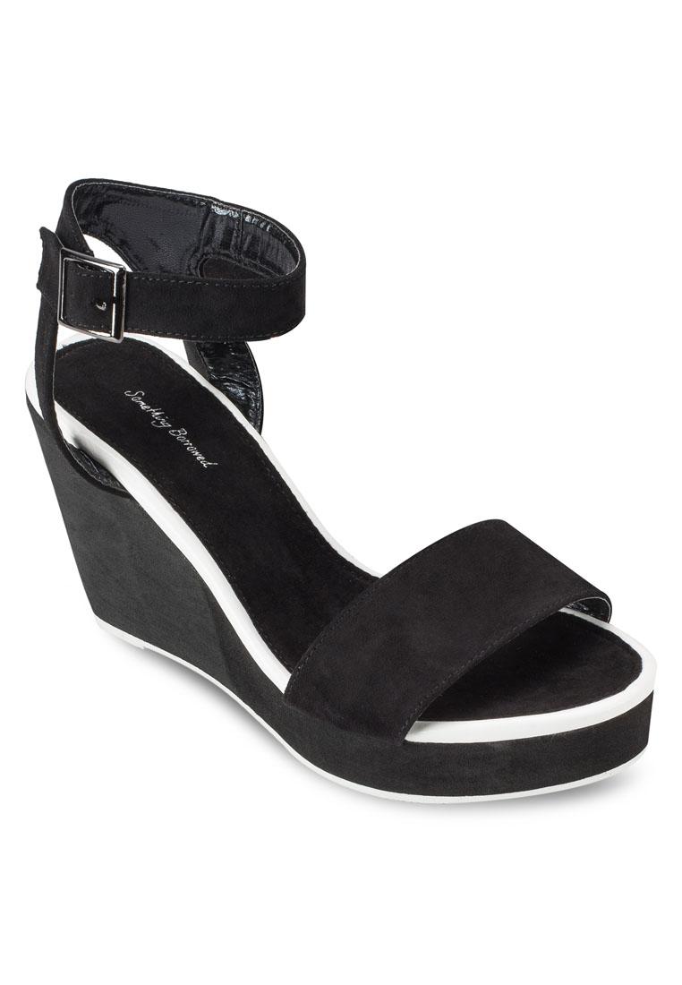 Something Borrowed Contrast Trim Wedge Heeled Sandals