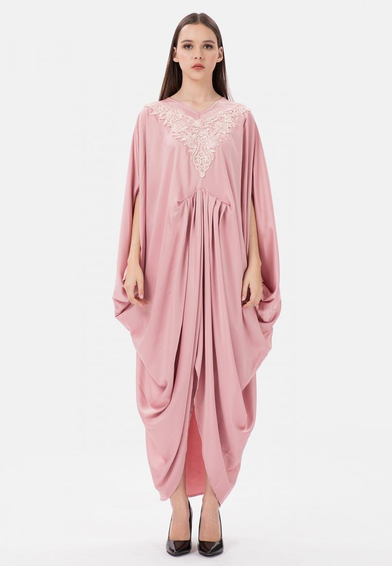 V-Embroidery Batwing Kaftan - Pink - The Pink Label