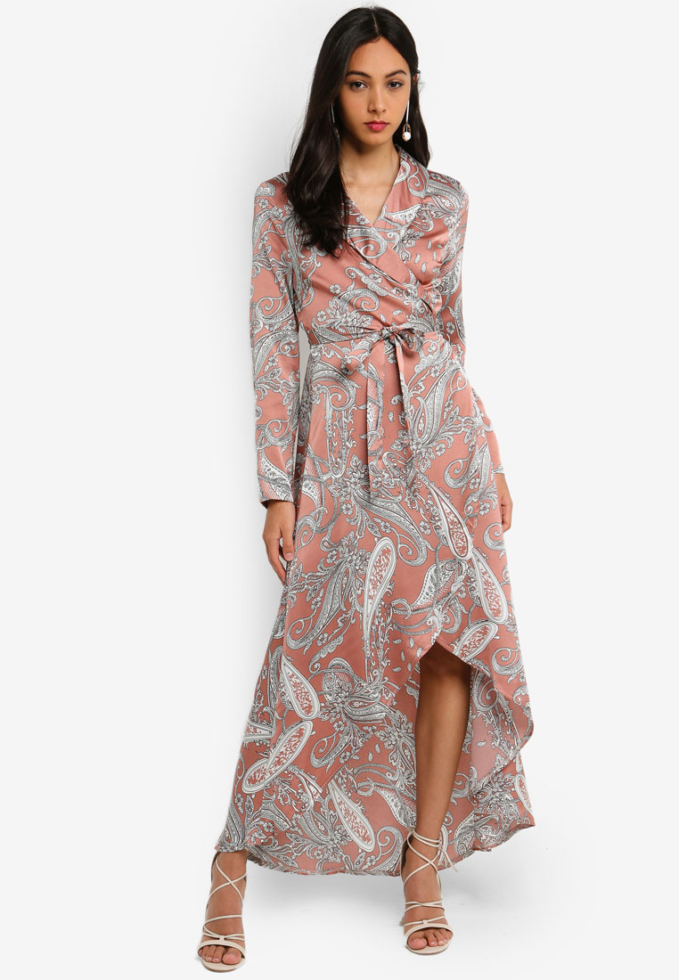 Hi Low Paisley Midi Shirt Dress - Nude - MISSGUIDED