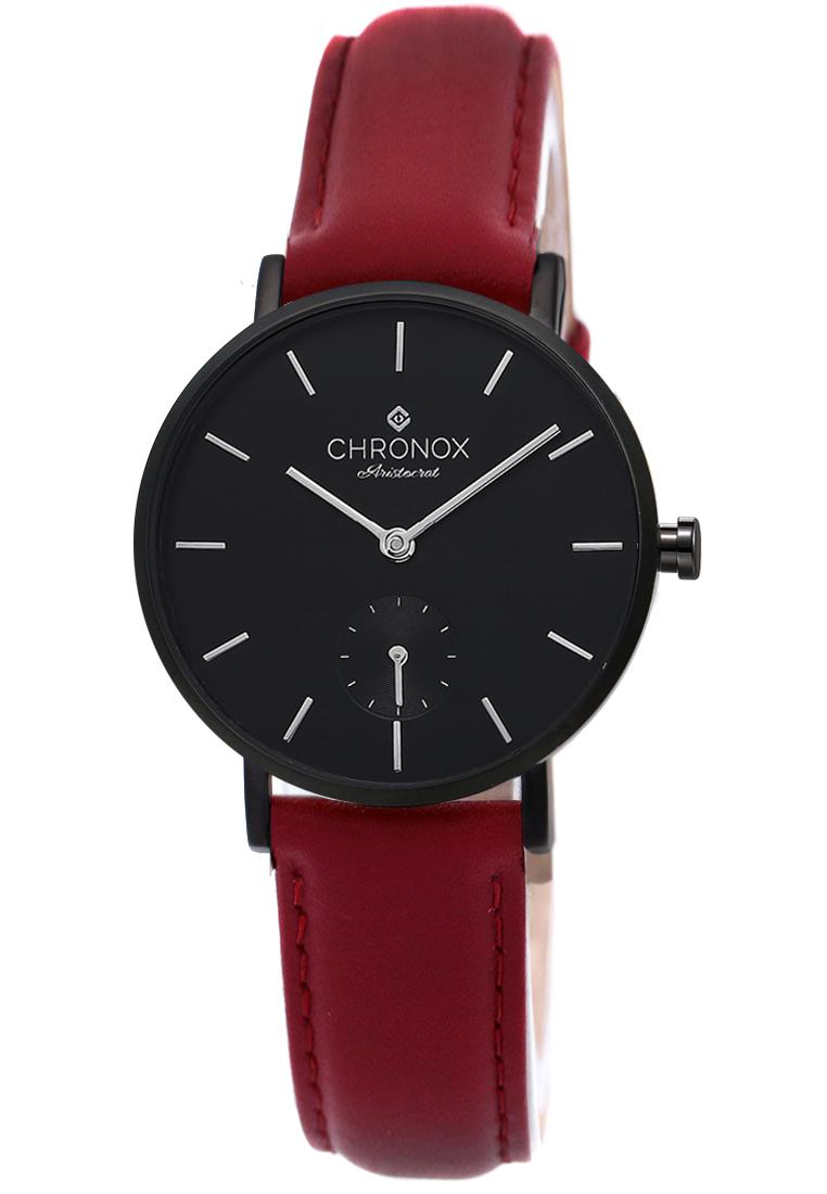 CHRONOX Chronox CX1003/A4 - Jam Tangan Wanita - Tali Kulit Merah - Hitam