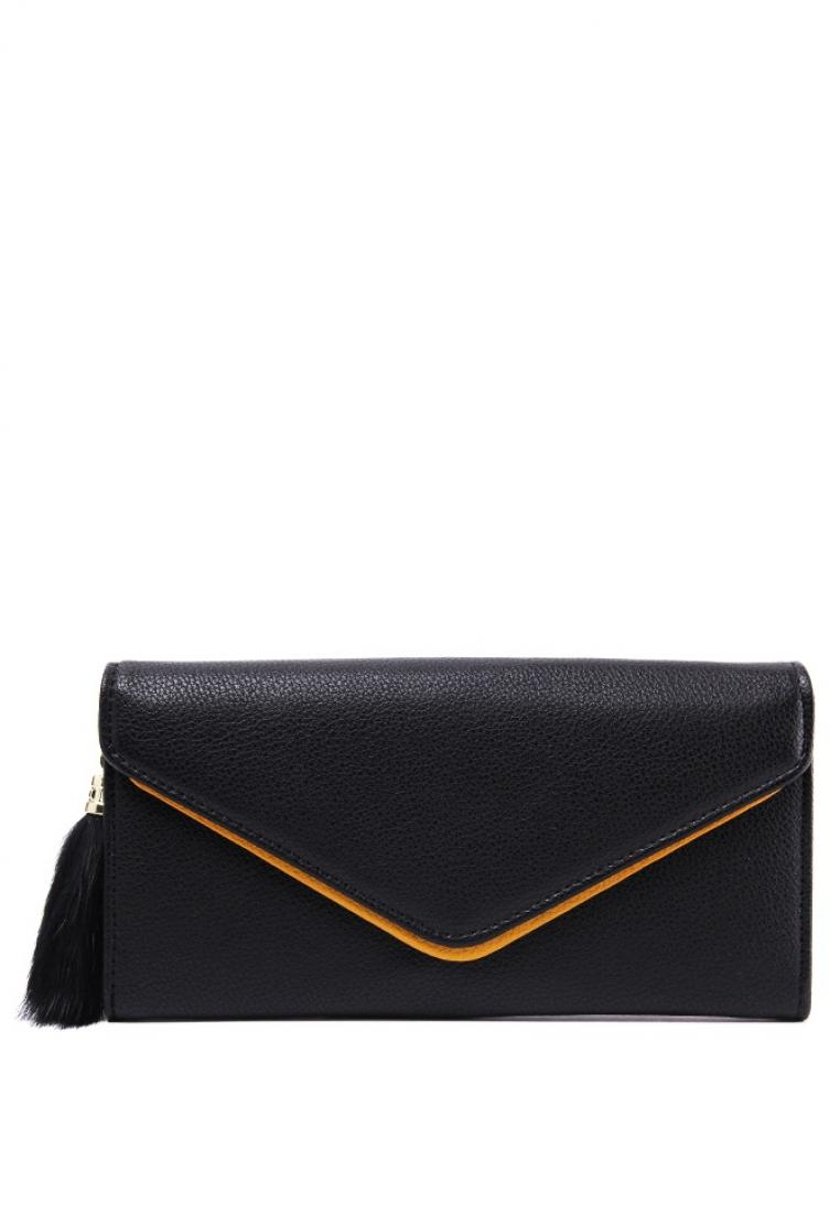 London Berry by HUER Kayla Envelope Wallet With Feather Tassel