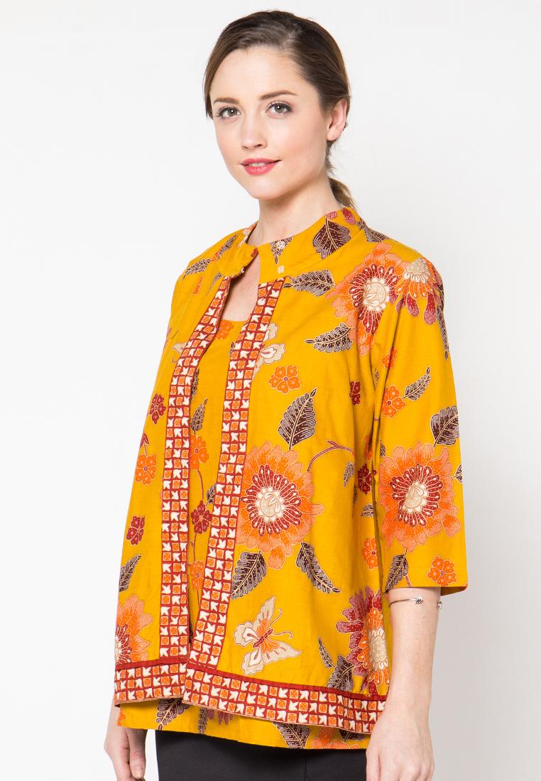 Blouse batik blazer orange by danar hadi mr1664 Baju gamis batik danar hadi