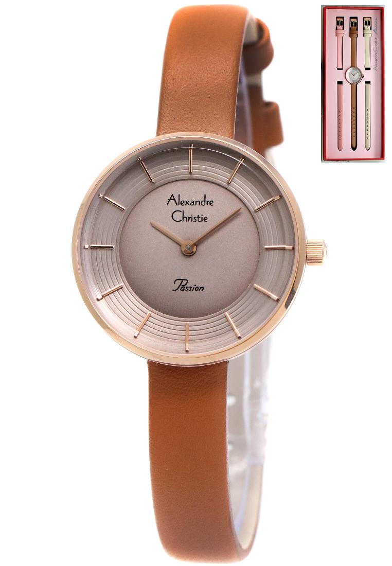 Alexandre Christie Alexandre Christie Fashion 2574 - Jam Tangan Wanita - Paket Tiga Strap Kulit - Coklat