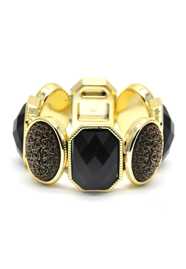 Istana Accessories Gelang Azzura Crystal Plastic Bracelet Fashion - Black Brown