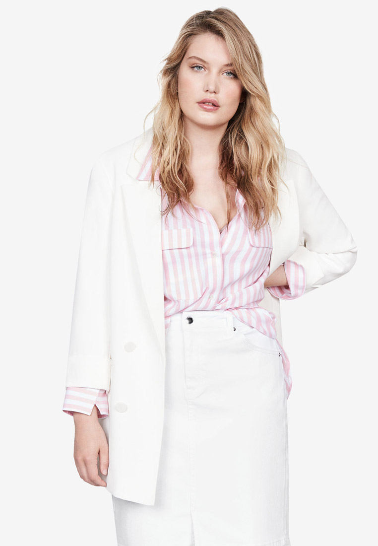 Plus Size Structured Suit Blazer - Natural White - Violeta by MANGO