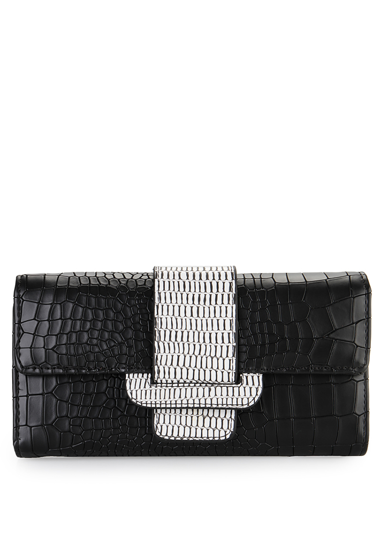 HUER Camia Croco Embossed Flap Wallet