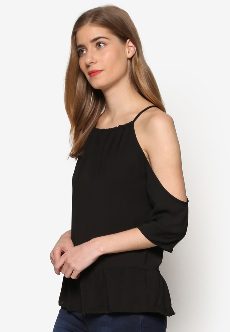 ZALORA Love Cold Shoulder Top With Ruffle Hem